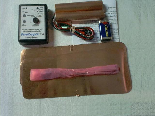 ParaZapper �CCa parasite zapper with copper paddles and copper pads.